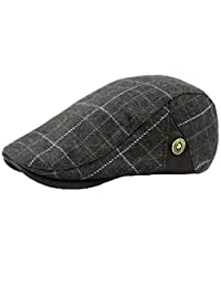 Ukerdo Mens Plaid Flat Berets Hat Newsboy Cabbie Duckbill Caps