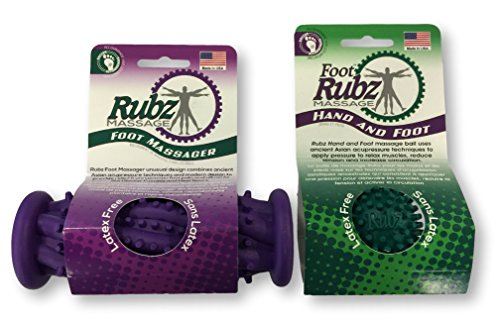 Due North Foot Rubz Combo Pack, Original Foot Rubz & Foot Massage Roller,0.6 - Foot Ball Rubz Massage