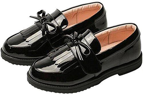 PPXID Girl's British Style School Uniform Shoes Princess Performance Oxford Shoes-Black 4 US Big Kid