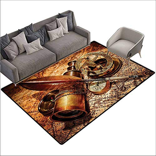- Front Mat Home Decorative Carpet Colorful Antique,Compass Goose Quill Pen 64
