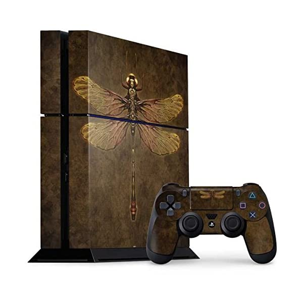 Skinit Decal Gaming Skin Compatible with PS4 Console and Controller Bundle - Officially Licensed Tate and Co. Steampunk & Gear Dragonfly Design 3