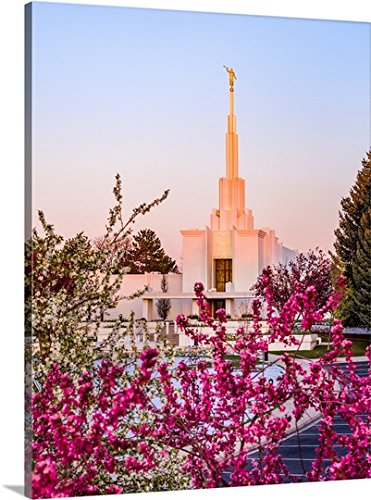 Scott Jarvie Gallery-Wrapped Canvas entitled Denver Colorado Temple, Sunrise in the Spring, Centennial, Colorado by greatBIGcanvas