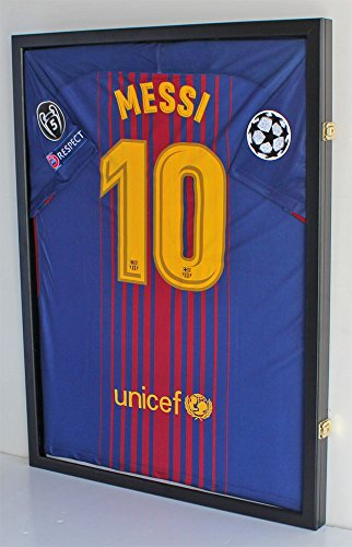 LOCKABLE 98% UV Protection - Baseball/Football/Basketball/Soccer/Hockey Jersey Display Case Shadow box, (Black Finish)