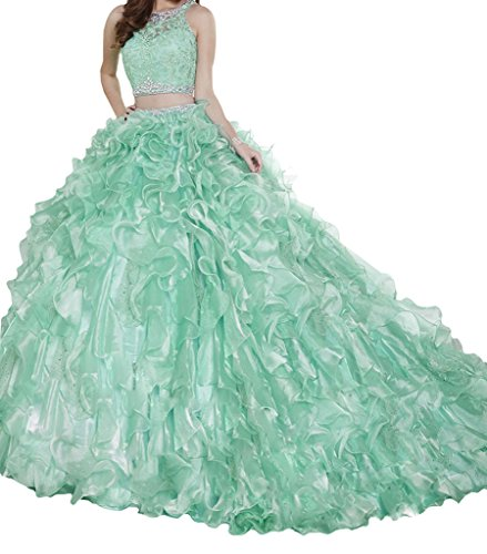 BoShi Women's Sweet 15 Two Pieces Lace Evening Gowns Removable Quinceanera Dresses 14 US Green ()