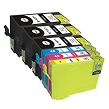 Proosh Compatible 6 Ink Cartridges for T127 (#127) Non OEM; 3 Black T1271, 1 Cyan T1272, 1 Magenta T1273, 1 Yellow T1274 for use in Compatible Printers: Epson Stylus NX530, NX625 and WorkForce WF-7010, WF-7510, WF-7520, WF-3520, WF-3530, WF-3540 and WorkForce 60, 545, 630, 633, 635, 645, 840, 845