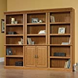 Sauder Orchard Hills 3 Shelves Wall Bookshelf With Storage in Oak For Sale