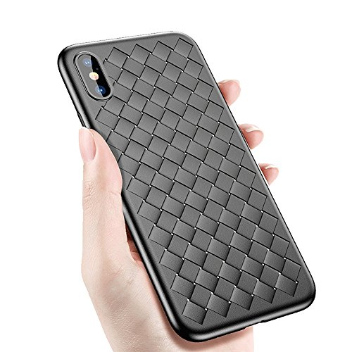Price comparison product image AIKEMA iPhone X Case Thin Soft Matte Texture Durable Flexible Anti-Scratch Anti-Shock Drop Protection Breathable Plaid Weaved Case for iPhone X