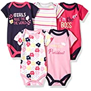 Luvable Friends Baby Infant Basic Bodysuit, 5 Pack, Girl President, 6M(3-6 Months)
