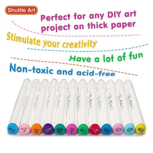 Shuttle Art 88 Colors Dual Tip Art Markers,Permanent Marker Pens Highlighters with Case Perfect for Illustration Adult Coloring Sketching and Card Making