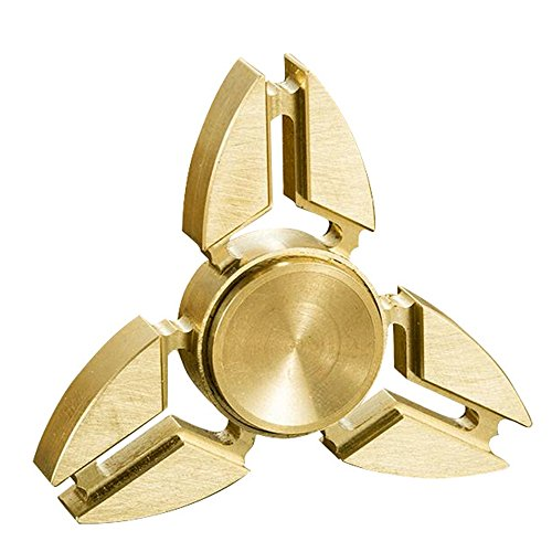 Tri Fidget Hand Spinner Triangle Brass Metal Finger Toy EDC Focus ADHD