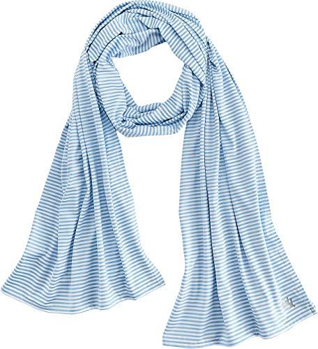 Coolibar UPF 50+ Women's Sun Shawl - Sun Protective (One Size- Vintage Blue/White Stripe)