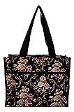 Medium Fashion Print Zipper Top Tote Bag (Autumn Floral)