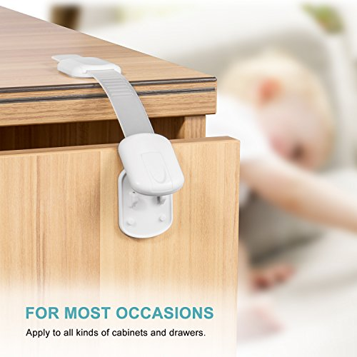 Adoric Baby Safety Locks | Child Proof Cabinets, Drawers, Appliances, Toilet Seat, Fridge and Oven | No Tools or Drilling | Uses 3M Adhesive with Adjustable Strap and Latch System - 6 Pack, White