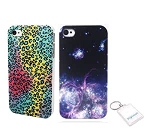 Highsound 2 PCS sky Lightning Back Skin Case Cover Protector Fit For Mobile Phone Cellphone iPhone 4G /4S with free Keychain