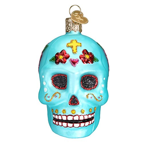 Old World Christmas Glass Blown Ornament with S-Hook and Gift Box, Halloween Collection (Day of The Dead)]()