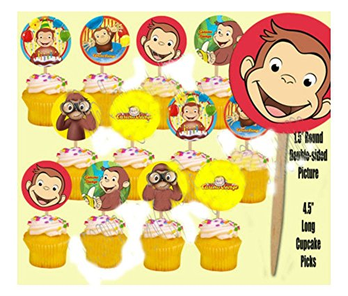 Curious George Monkey Double-Sided Cupcake Picks Cake Toppers -12 pcs]()