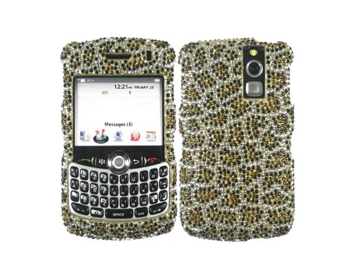 Bling Rhinestone Faceplate Diamond Crystal Hard Skin Case Cover Leopard Gold for Blackberry Curve 1 8310 8320 (8330 Faceplate Cover Case)