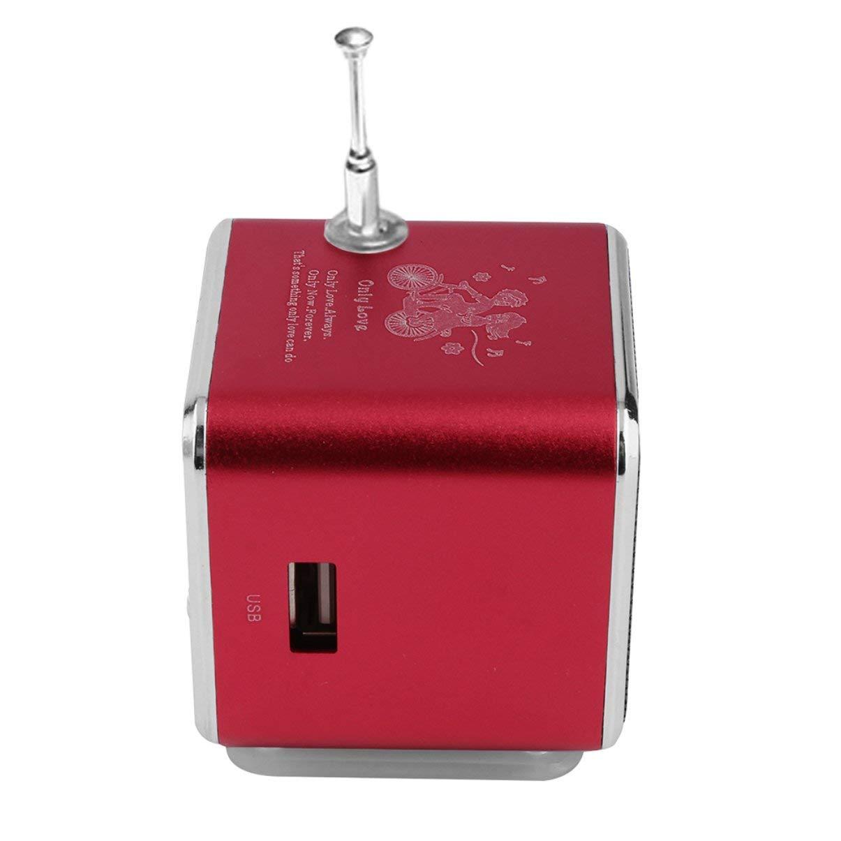 4 Ricevitore radio FM rosso Altoparlante portatile Super Mini stereo mini USB in lega di alluminio Ubwoofer Musica MP3