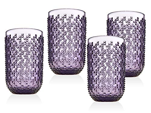 Highball Glasses Beverage Glass Cup Alba by Godinger - Amethyst - Set of 4