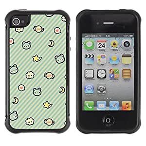 LASTONE PHONE CASE / Suave Silicona Caso Carcasa de Caucho Funda para Apple Iphone 4 / 4S / Kids Pattern Teal Night Sleep