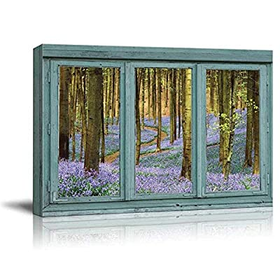 Vintage Teal Window Looking Out Into a Purple Field Forest - Canvas Art Home Art - 24x36 inches