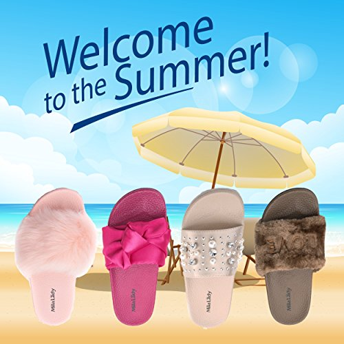 Sandals Casual Outdoor for Skid Fuzzy Slides Shoes Bow Slipper Womens Summer Beach Anti grey X8vqwx0gA