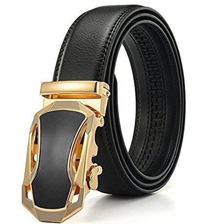 Fashion Men's Ratchet Belt Automatic Buckle Full Grain Genuine Leather (Custom Made Belt Buckles)