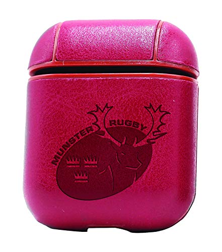 Munsters Case - Munster Rugby (Vintage Pink) Air Pods Protective Leather Case Cover - a New Class of Luxury to Your AirPods - Premium PU Leather and Handmade exquisitely by Master Craftsmen