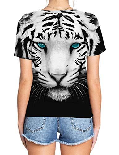 Courtes Bleus Tigre Manches 3xl Unisexe Homme S Col Plus Sport À T Ocean Tailles Blanc Animal shirt Rond Aux Yeux Carnival Multicolore Imprimé Femme CqZHg66w
