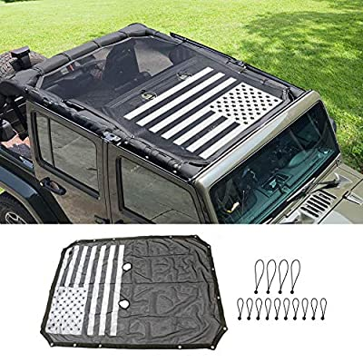 Full Mesh Sunshade Top Cover, bestaoo Jeep Wrangler JK Polyester Top Cover Provides UV Sun Protection for JK Wrangler 2007-2020 4 Door - USA Flag: Automotive