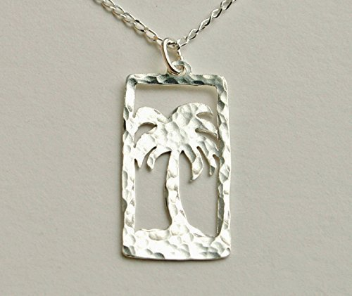 Palm Tree Necklace by Ali C Art, Made In The USA, Unique Handmade Sterling Silver Ocean and Nature Pendant Jewelry