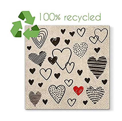 Paper Lunch Napkins 20pcs 3plyCrazy Love 100/% Recycled Tissue ECO Decoupage