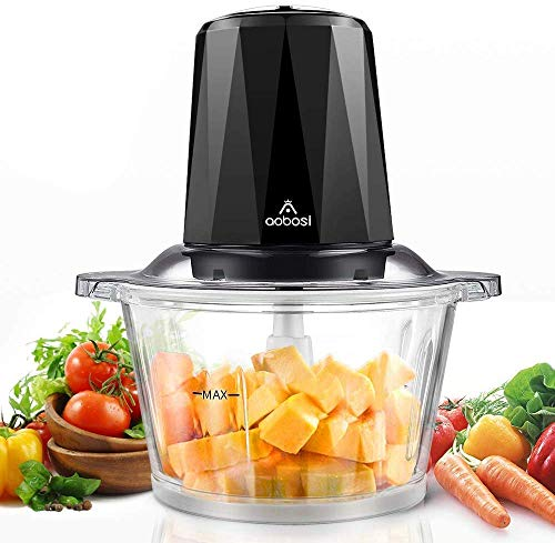 Electric Food Chopper,7-Cup Meat Chopper by Aobosi, 1.8L BPA-Free Glass Bowl, Braking Function, Fast&Slow Speeds Control, 4 Sharp Blades,300W, Mini food processor for Meat,Vegetables, Fruits and Nuts