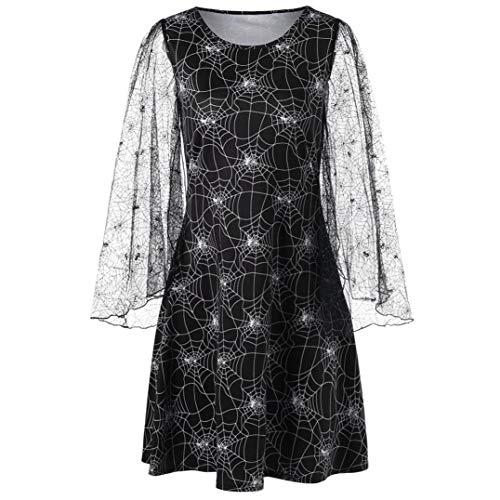 Women's Halloween Long Sleeve Mesh Spider Web Print Dress@Party Cobweb Print Yarn Long Sleeves Mini Dresses (XL, Black)
