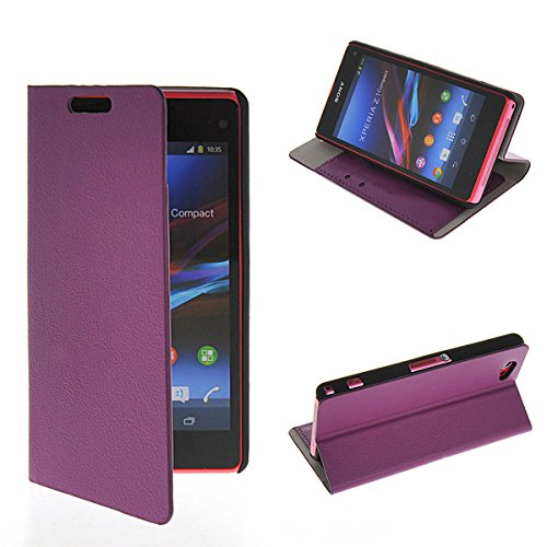 Z1 Compact Case, GETLAST [Purple] New Design Ultra Thin Wallet Flip Cover Folio Case for Sony Xperia Z1 Compact D5503