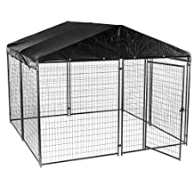 Lucky Dog CL 69145 6-Feet Height  X 10-Feet Width X 10-Feet Length Black Modular Welded Wire Kennel with Kennel Cover