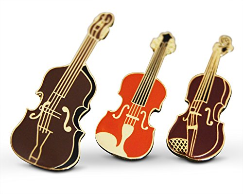 String Bass Costume (3-Piece Mixed Strings Violin Fiddle Musician Lapel or Hat Pin & Tie Tack Set with Clutch Back by Novel Merk)