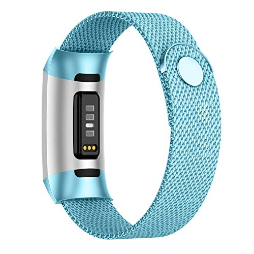 POY Compatible for Fitbit Charge 4/Charge 3 Bands,Replacement Wristbands for Charge 3 SE Fitness Activity Tracker, Metal Stainless Steel Bracelet Strap for Women Men