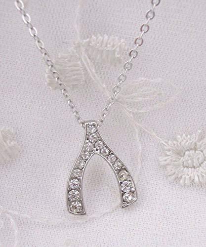 (Silver Crystal Rhinestone Lucky Wishbone Pendant Necklace For Women Fashion Jewelry NEW)