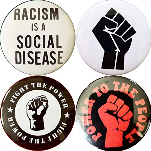 Black Power 4 2.25 inch (57mm) pin Button Badge Black Panther Power to The People Fight The Power Black Lives Matter BLM