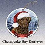 Holiday Pet Gifts Chesapeake Bay Retriever Santa Hat Dog Porcelain Christmas Tree Ornament