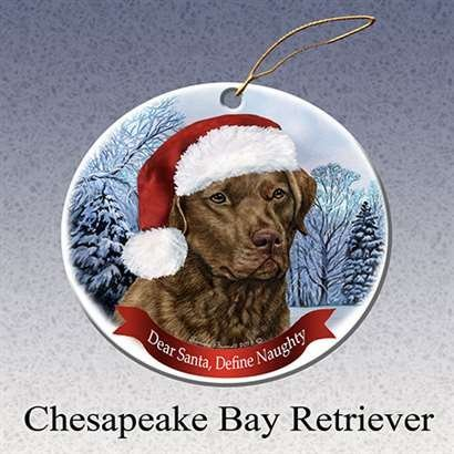 Holiday Pet Gifts Chesapeake Bay Retriever Santa Hat Dog Porcelain Christmas Tree Ornament