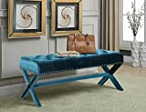 Product review for Iconic Home Neil Velvet Modern Contemporary Button Tufted with Silver Nailheads Seating, Frame and Legs X-Leg Tufted Bench, Green