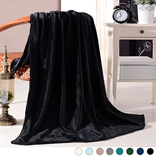 "Luxury Flannel Velvet Plush Throw Blanket – 50"" x 60"" (Black) by Exclusivo Mezcla from Exclusivo Mezcla"