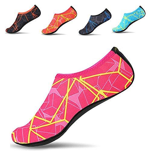 JACKSHIBO Men Women and Kids Quick-Dry Water Skin Shoes Aqua Socks For Water Sports Swim Surf Yoga Exercice Beach, Rose Red, XXXL