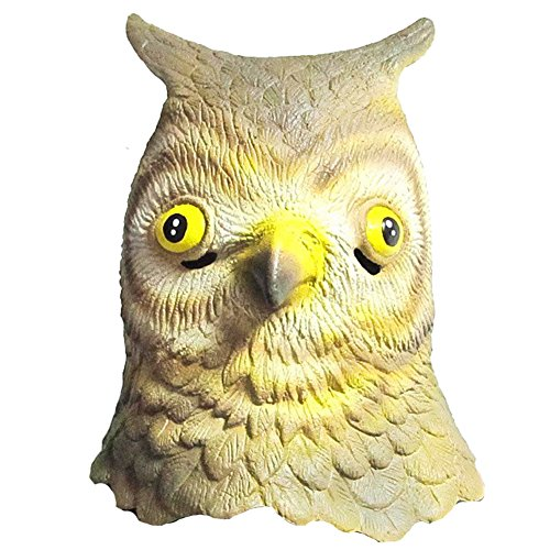 [Queenshiny Latex Animal Head Mask Halloween Cosplay Party Costume Fancy Dress (One size, Owl)] (Mens Owl Costumes)