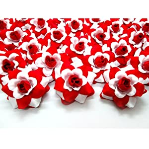 "(100) Silk White Red Roses Flower Head - 1.75"" - Artificial Flowers Heads Fabric Floral Supplies Wholesale Lot for Wedding Flowers Accessories Make Bridal Hair Clips Headbands Dress 63"