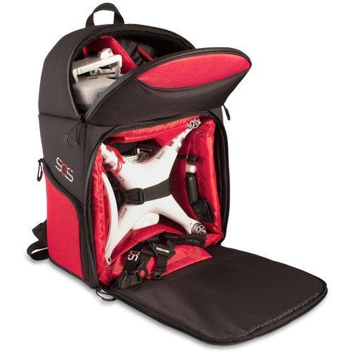 Bower Sky Capture Series Backpack for DJI Phantom 3 Standard/Professional/Advanced, Phantom 1, 2 and 4 Drones, Black/Red -  SCS-BPS