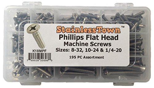 Stainless Steel Phillips Flat Machine Screw Kit #K18MPF