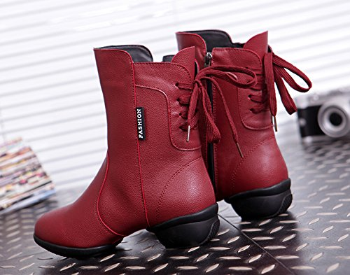 Abby 313 Womens Standard Ballroom Show Party Jazz Closed Toe High Top Mid Heel Rumba PU Zip Dance Boots Red(plus Velvet) zFabBK5BjI